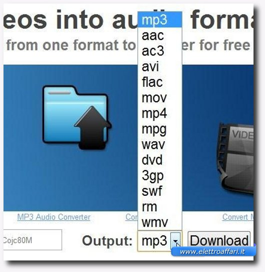 Immagine di ConvertVideoToAudio, uno dei siti per scaricare e convertire video onl