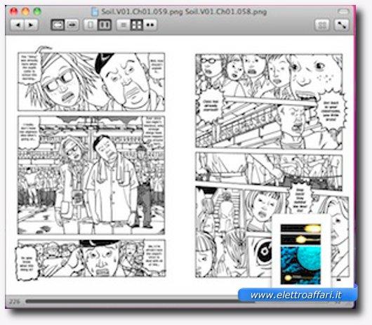 Interfaccia grafica del terzo programma per leggere manga e fumetti