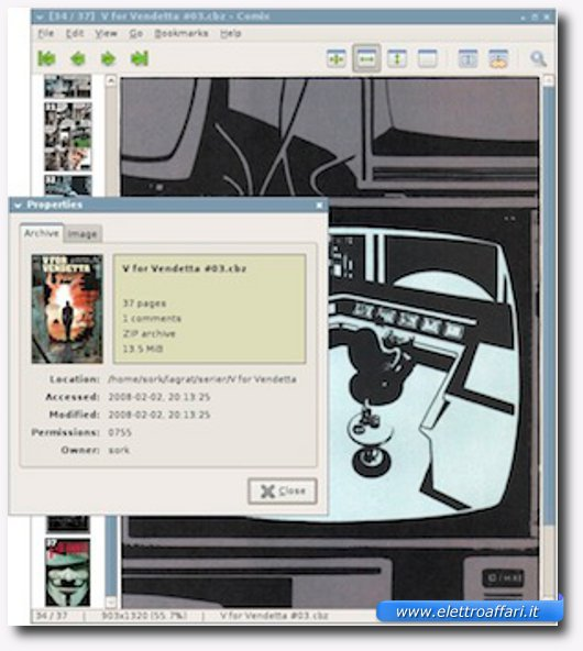 Interfaccia grafica del quarto programma per leggere manga e fumetti