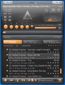 Interfaccia del programma AIMP 3 per ascoltare musica sul PC