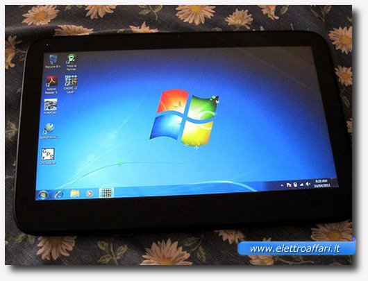 Immagine di un tablet con sistema operativo Windows 7