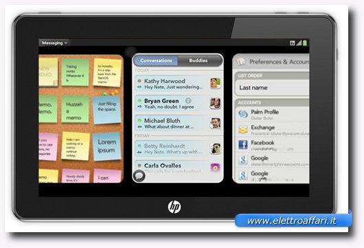 Immagine di un tablet con sistema operativo WebOS