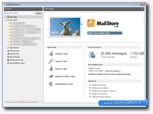 Immagine di Mailstore Home, programma per Windows
