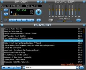 Interfaccia del programma Spider Player per ascoltare musica sul PC