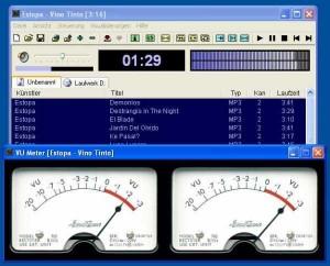Interfaccia del programma VuPlayer per ascoltare musica sul PC