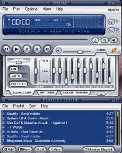 Interfaccia del programma Winamp per ascoltare musica sul PC