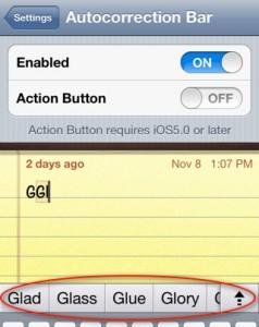 Immagine dell'applicazione Autocorrection Bar per Cydia