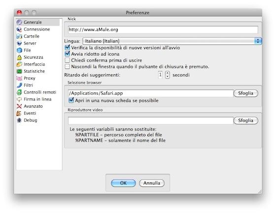 Interfaccia grafica del pannello di configurazione di aMule