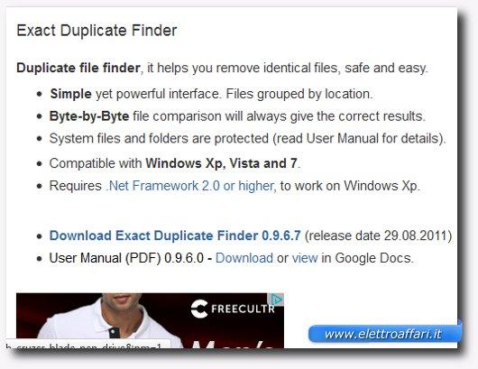 Immagine del programma Exact Duplicate Finder