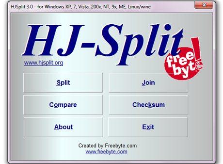 Interfaccia grafica del programma HJSplit