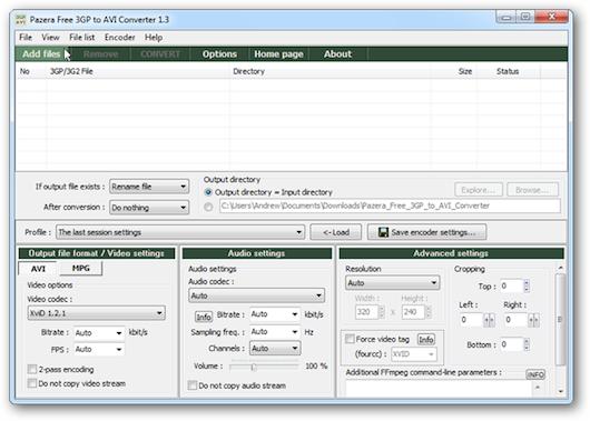 Interfaccia grafica di Pazera Free 3GP to AVI Converter