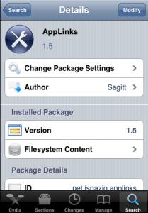 Interfaccia grafica dell'app AppLinks