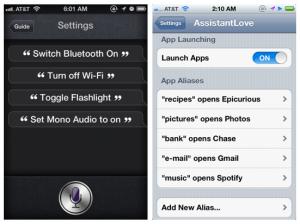 Interfaccia grafica dell'app AssistantLove