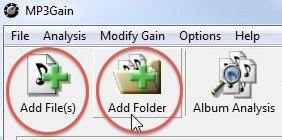 Zona dell'interfaccia di MP3Gain per selezionare i file MP3