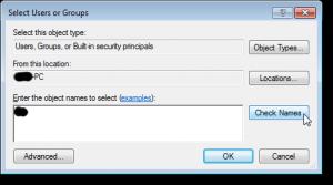 Schermata per la selezione degli utenti o dei gruppi