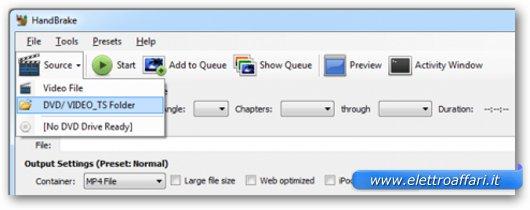 Interfaccia grafica di Handbrake