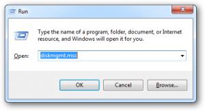 Schermata di avvio del Disk Management