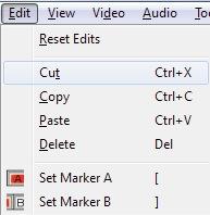 Immagine che mostra la scelta dell'operazione per tagliare un video