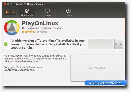 Schermata di installazione di PlayOnLinux