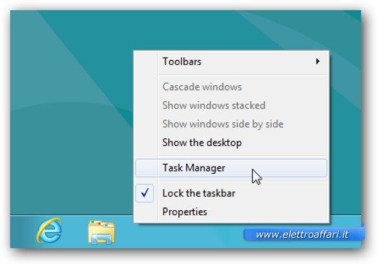 Seconda soluzione per lanciare il task manager di Windows 8