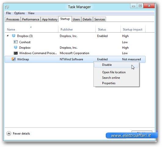 Finestra della funzione di Startup del task manager di Windows 8