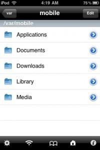 Interfaccia grafica dell'app iFile