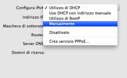 Selezione del metodo Manualmente per l'indirizzo IP