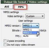Selezione del formato MPG