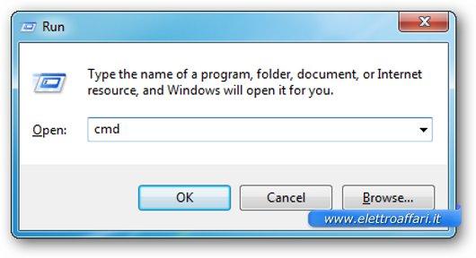 Riquadro per lanciare il prompt di DOS su Windows