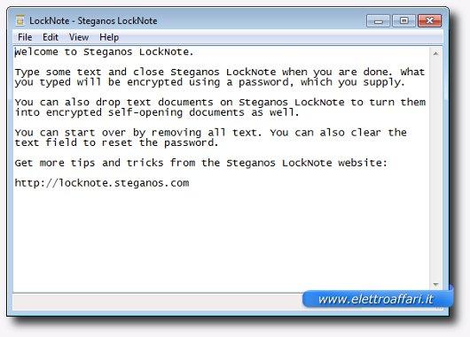 Interfaccia grafica di Locknote