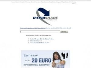 Immagine del sito RapidShare per condividere file grandi