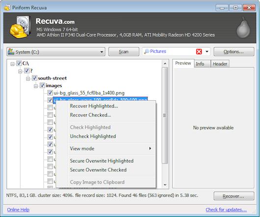 Immagine che mostra l'elenco dei file recuperati dal programma