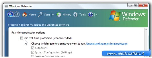 Interfaccia di Windows Defender