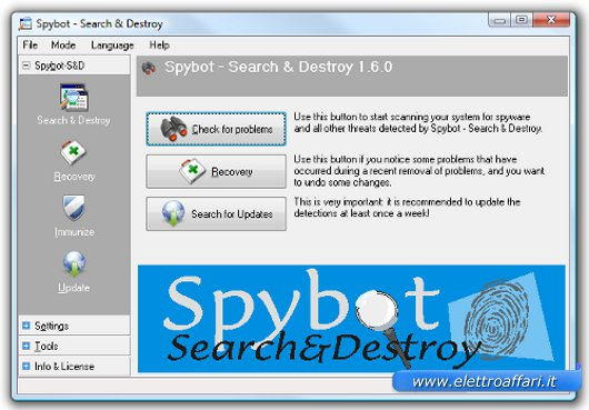 Interfaccia di Spybot Search & Destroy