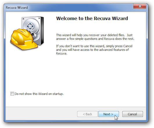 Immagine della schermata introduttiva di Recuva