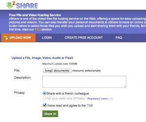 Immagine del sito zShare per condividere file grandi