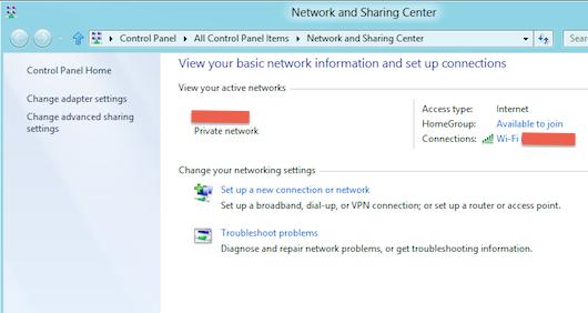Schermata del Centro di connessione di rete e condivisione di Windows 8