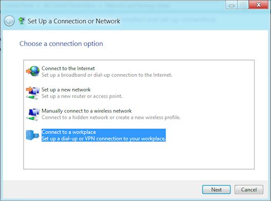 Selezione della rete VPN da creare