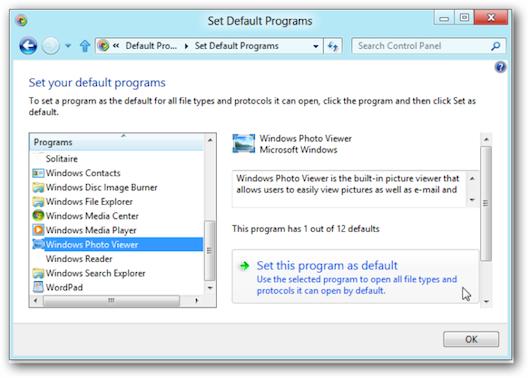 Finestra per settare i software di default per l'apertura dei file