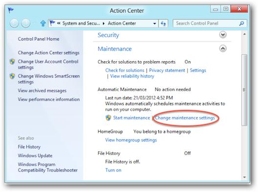 Cambiare l'orario della manutenzione automatica di Windows 8