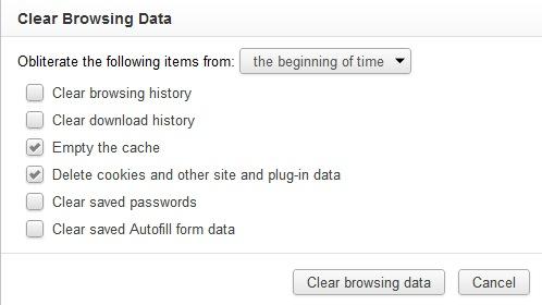 Finestra per cancellare la cronologia di Chrome