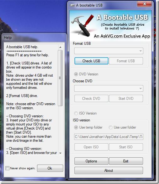 Interfaccia dello strumento per creare una USB bootable