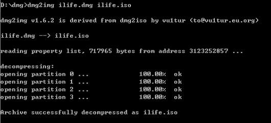Schermata ottenuta quando una conversione da DMG a ISO è riuscita