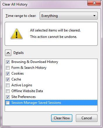 Finestra per cancellare la cronologia di Firefox