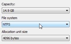 Selezione del file system NTFS per la formattazione