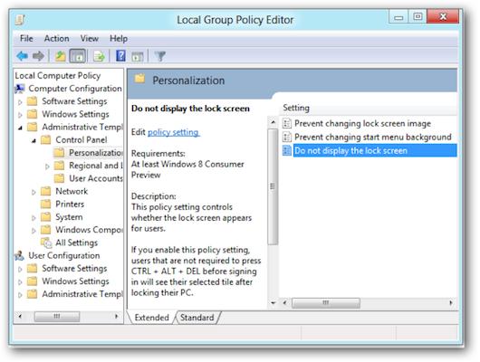 Finestra per disabilitare la lock screen di Windows 8