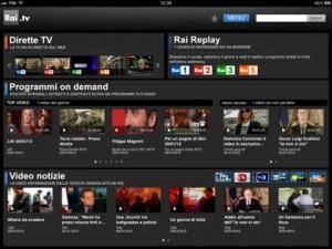 Interfaccia dell'app Rai.TV per iPad