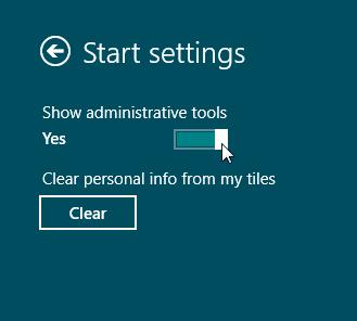 Finestra per settare la visualizzazione degli strumenti di amministrazione