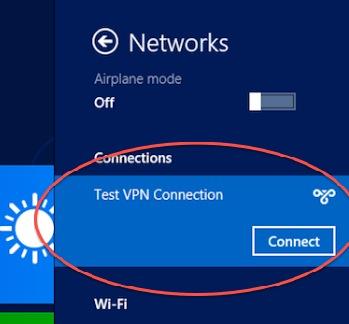 Connettere la rete VPN appena creata