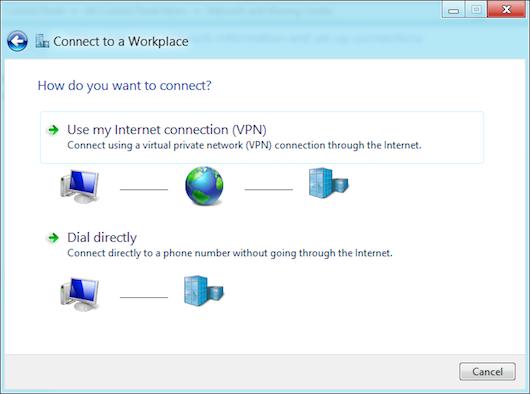 Selezione delle opzioni della connessione VPN